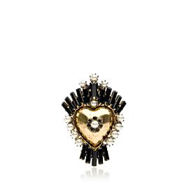 CERCEI HEART PEARLS - negru/auriu